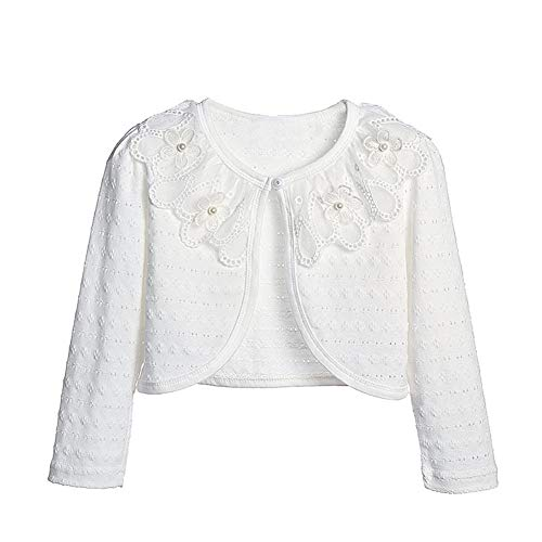 Sinmoocy Girls Long Sleeve Lace Bolero Shrug for Dress Kids Hollow Cardigan for Bridesmaids Flower Girls Size 18M Ivory