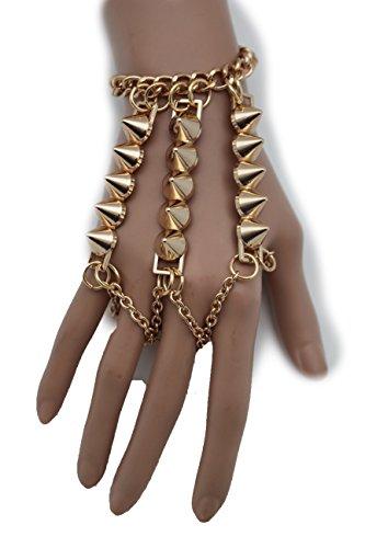 [TFJ Women Fashion Jewelry Hand Chain Wrist Bracelet Slave Rings Metal Long Fingers Spikes Rock Punk] (Gaga Dance Costumes)