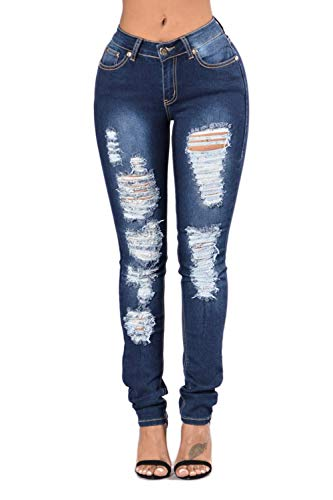 Cotone Blu Yulinge Strappati Destoryed Jeans Le Tasca Con Donne ww1qxzCSR