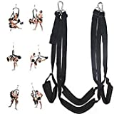 360 Spinning Adult Sex Swing Sex Ceiling, Aomingor Sex Adult Swing Bondage Restraints Kit Spin-Safety Rated To 800 LBS, Includes Frame, Body Indoor Yoga Swing for Couples, Black