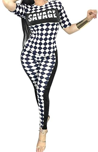 Pivaconis Womens Checkerboard Stretchy Race Car Driver Printed Fashion Outfit Set Outfit Set Black X-Large by Pivaconis (Image #2)