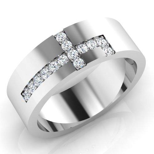 0,21 Ct redonda natural diamond anillos de boda para hombre 14 K oro blanco