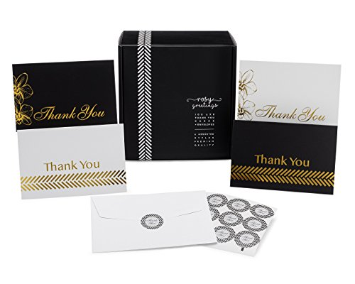 Thank You Cards Bulk Set - 100 4x6 Thank You Notes, Envelopes & Stickers, 4 Gorgeous Designs (25 of Each) Black & Gold, White & Gold, Great for Any Occasion, Wedding, Bridal & Baby Shower Graduation