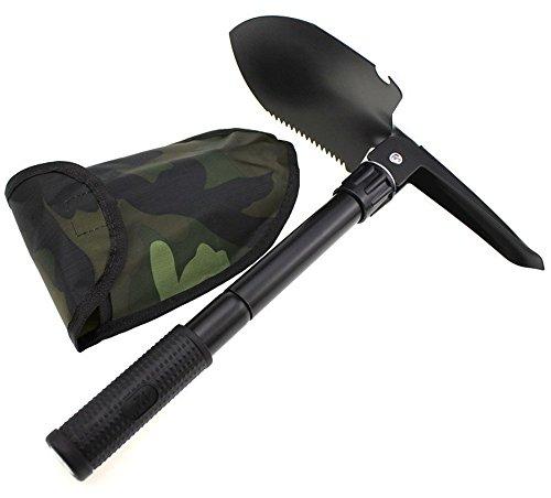 Merlot12 Mini Multi-functional Military Folding Shovel Exploration Survival Spade Emergency Garden Camping Outdoor Tool with Bag