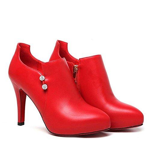 talon YC noir ¨¤ rouge ¨¤ red pointu simple imperm¨¦able haut Femmes L talons chaussures l'eau printemps et l'automne RqEd781x