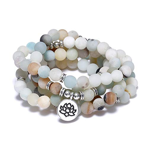 FUTTMI 8mm Natural Sodalite Stone Healing Gemstone 108 Mala Beads Wrap Bracelet Necklace for Yoga Charm Bracelet Jewelry for Women Men ()