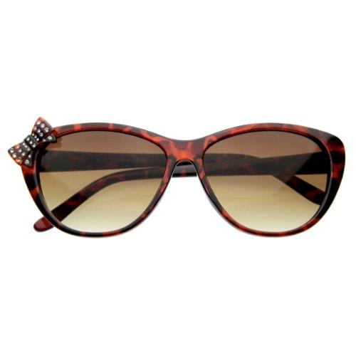 zeroUV - Womens Cute Modern Cat Eye Sunglasses with Rhinestone Detailed Bow - Sunglasses Modern Eye Cat
