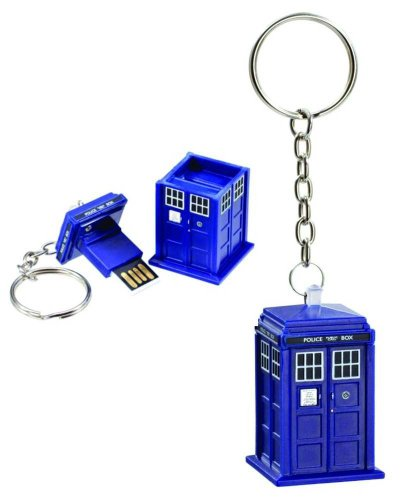 Doctor Who Memory Stick - TARDIS 8GB USB Key Chain with Flashing Blue LED Light