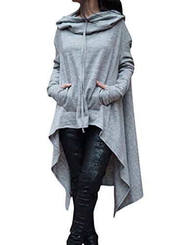 Fasci Women's Long Sleeve Funnel Neck Hi Lo Ribbed Hoodie Sweatshirt Grey XL