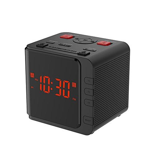 BALDR FM/AM LED Radio Clock Dual Alarm, Black