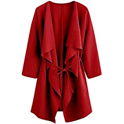 LisYOU Womens Kimono Cardigans Solid Blouse Irregular Wrap Casual Coverup Tops(2XL,Red)