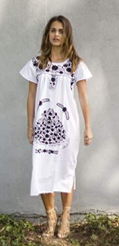 ab904966d3d Liliana Cruz White Embroidered Mexican Peasant Dress with Color Embroidery  - Delocus Store