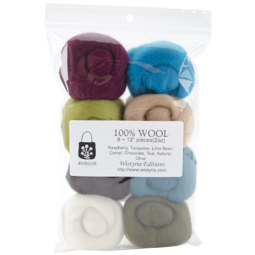 (Wistyria Editions 0.25-Ounce Wool Roving, 12-Inch, Chic, 8-Pack)