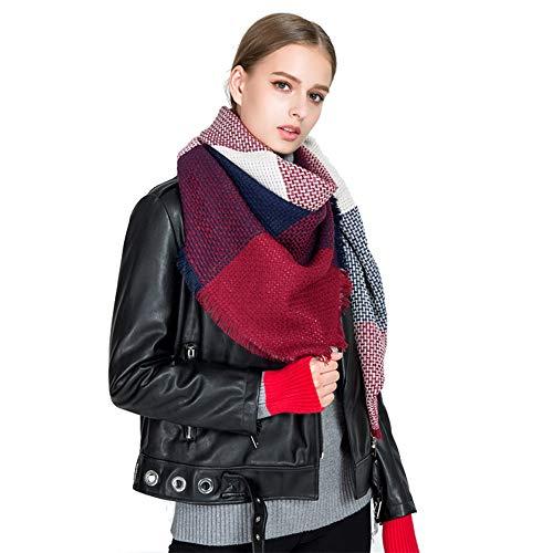 HITOP Women Tartan Scarf Stole Plaid Blanket Checked Scarves Wraps Shawl (Red Wine)