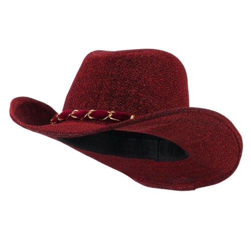 Velvet Cowboy Hat (Glitter Cowboy Hat with Velvet Chain - Red OSFM)