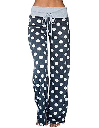 Buauty Women's Floral Print Drawstring Palazzo Wide Leg Lounge Pajama Pants