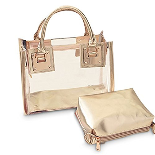 Clear Crossbody Handbags, OURBAG Fashion Women's Waterproof Clear Handbag Top Handle Shoulder Bag Transparent Purse Gold (Bag Shoulder Gold Medium)