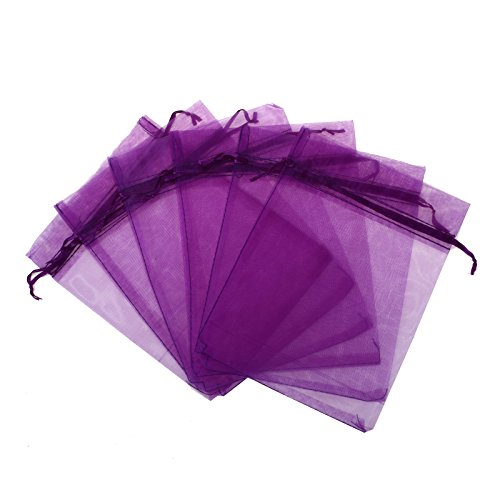 - KUPOO Pack of 50PCS 8x12 Inch Organza Drawstring Gift Bag Pouch Wrap for Party/Game/Wedding (Purple)
