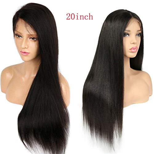 Peruvian Lace Front Human Hair Wigs For Black Women Virgin Hair Straight Wig With Baby Hair Natural Hairline Full End Black Color On Sale 150% Density14Inch]()