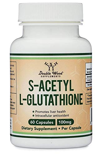 S-Acetyl L-Glutathione Capsules - 100mg, Made and Tested in The USA, 60 Count (Acetylated Glutathione) by Double Wood Supplements (The Best Glutathione Capsule)
