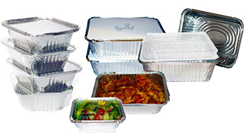 Oblong Pack - TigerChef TC-20472 Durable Aluminum Oblong Foil Pan Containers Variety Pack, Includes 5 1 Pound, 2.25 Pound and 5 Pound Foil Pans with Board Lids and Dome Covers (Pack of 40)