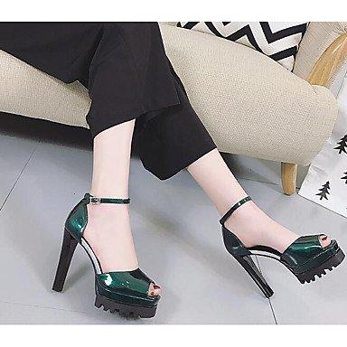Pu Confort Black Tacones Básico Verde Plata Casual Cms Lvyuan Primavera Verano ggx 10 Negro Mujer 12 Pump axXYtX