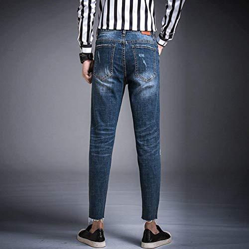 Giovane Slim Fit Strappati Da N Pantaloni Casual Cool Straight Uomo Blau Jeans z68IqXq