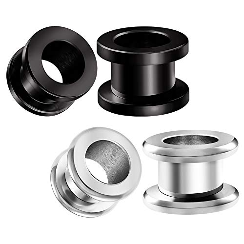BIG GAUGES 2 Pairs Surgical Steel Black Anodized 00 g 10 mm Screw Flesh Tunnel Piercing Ear Stretching Rounded Plugs Earring Lobe BG4518