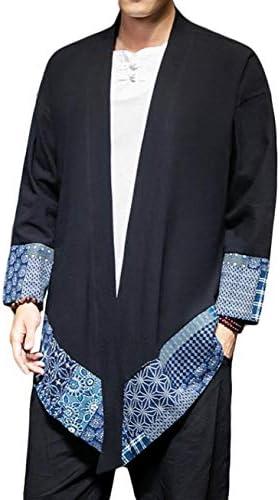 Gergeousカーディガン メンズ 長袖 和式パーカー ゆったり ロングカーディガン 綿 麻 カジュアル コーディガン ロング丈 羽織 大きいサイズ コート 春