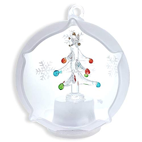 BANBERRY DESIGNS Christmas Globe Ornament - LED Lighted Glass Ball Christmas Tree Decoration - Hand Painted Glittery Snowflakes