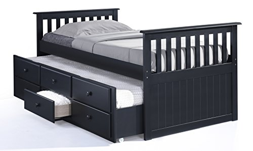 Broyhill Kids Marco Island Captain's Bed with Trundle Bed and Drawers, Twin, Black, Twin-Sized Mattress (Not Included), Bunk Bed Alternative, Great for Sleepovers, Underbed Storage/Organization