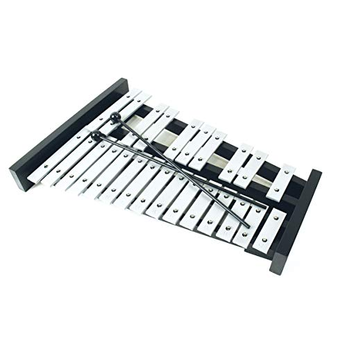 Professional Large Black Wooden Soprano Glockenspiel Xylophone with 25 Metal Keys for Adults and Kids - Includes 2 Plastic Beaters