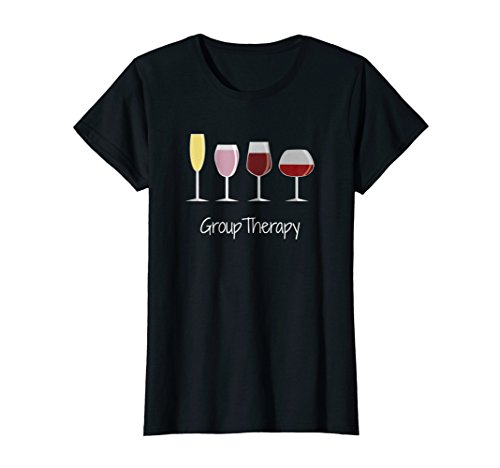 Womens Funny Womens Wine Drinking T-Shirt - Group Therapy