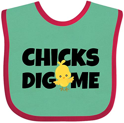 (Inktastic - chicks dig me Baby Bib Green and Red 2805c)