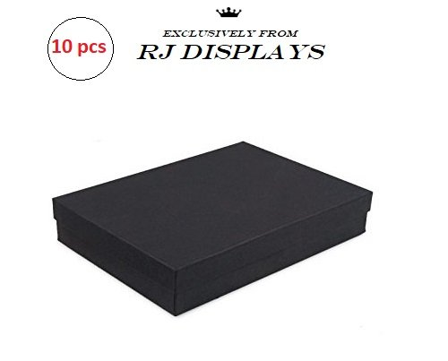 10 Pack Cotton Filled Matte Black Color Jewelry Gift and Retail Boxes Size: 7'' x 5'' x 1-1/8'' Inch by R J Displays by RJ Displays