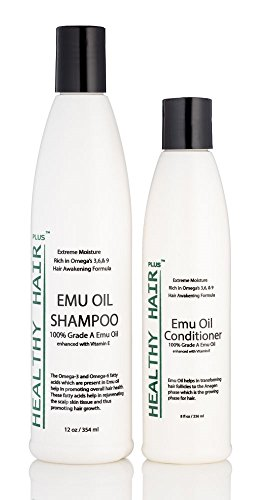 Healthy Hair Plus - Emu Oil Shampoo (12oz) and Conditioner (8oz) Deep Moisturizing Hair Care for Dry Hair and Scalp