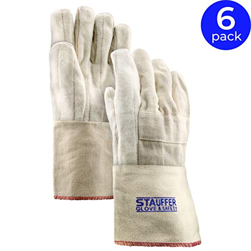 Stauffer 32 oz. Cotton Hot Mill Gloves | Natural Color, Cut and Sewn, Gauntlet Cuff, 12.5