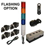 LED Tower Light Station Kit, Flashing Capable, 120V, Red/Yellow/Green/Blue, 2 Pos Off/Steady OR Off/Flashing