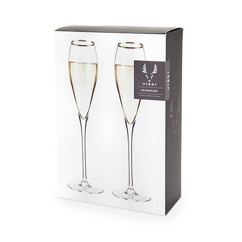 Champagne Flute, Gold Rimmed Crystal Riedel Vintage Elegant Champagne Flutes