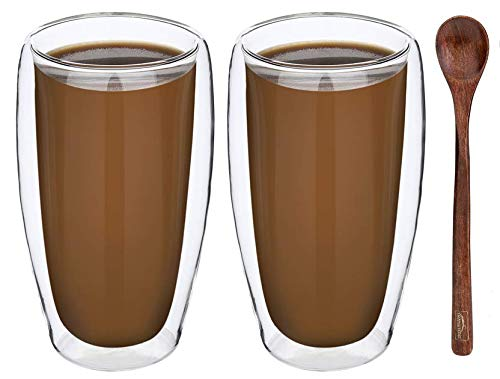 (TRANSTONE 15oz Set Of 2 Double Wall Insulated Glass Coffee Mugs,Tea Mugs,Torino Collection,Clear Mugs,Glass Espresso Mugs, Gass Latte Cups, Glass Cappuccino Cups Include A Wooden)