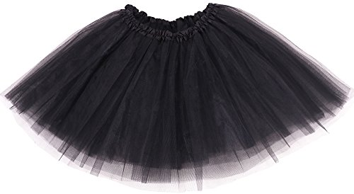 [Simplicity Women's Classic Elastic, 3-Layered Tulle Tutu Skirt, Black, One Size] (Tutus For Adults)