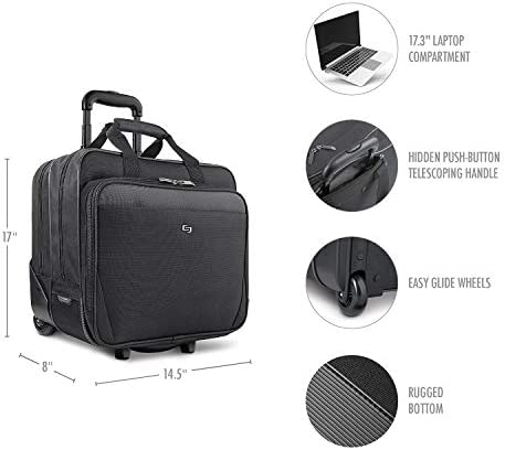 Solo New York Empire Rolling Laptop Bag Rolling Briefcase for Women and Men Fits Up to 173 Inch