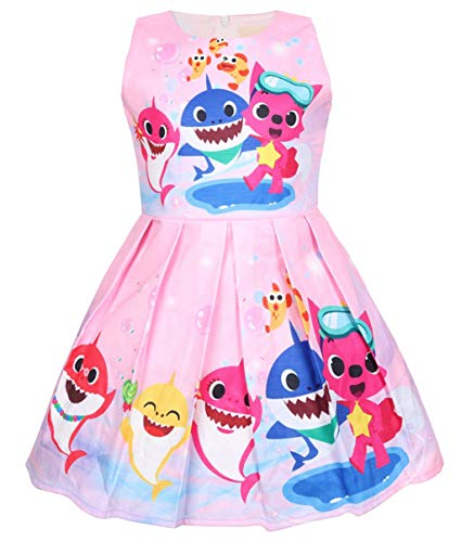 Girls Unicorn Dress Costumes Fancy Birthday Party Dress up (Shark Baby Pink, 4Y)