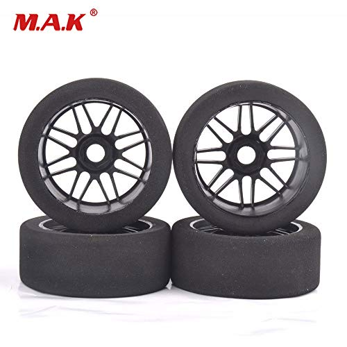 ShineBear 4Pcs 1/8 Racing Foam Tires&Nylon Wheel 17mm Hex for HSP HPI on Road Car Accessory