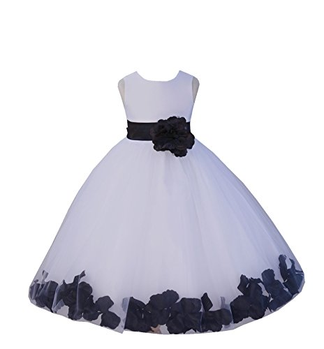 ekidsbridal White Floral Rose Petals Flower Girl Dress Birthday Girl Dress Junior Flower Girl Dresses 302s 8 -