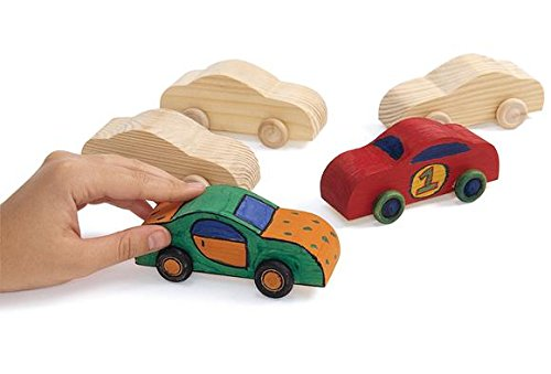 Colorations WOODCAR Real Rolling Wooden Cars (Pack of 12)