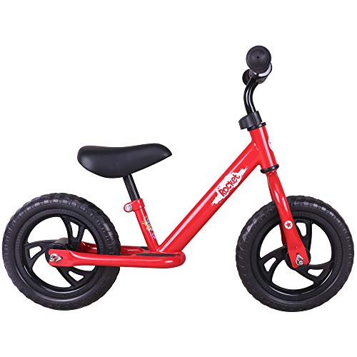 JOYSTAR 12″ Balance Bike for Boys & Girls 1 2 3 4 5 Years Old, Toddler Push Bike with Footboard & Handlebar Protect Pad, Red