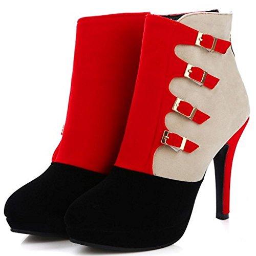 Botines Rojo Botas Cremallera Zanpa Mujer Moda pqw8qxAY