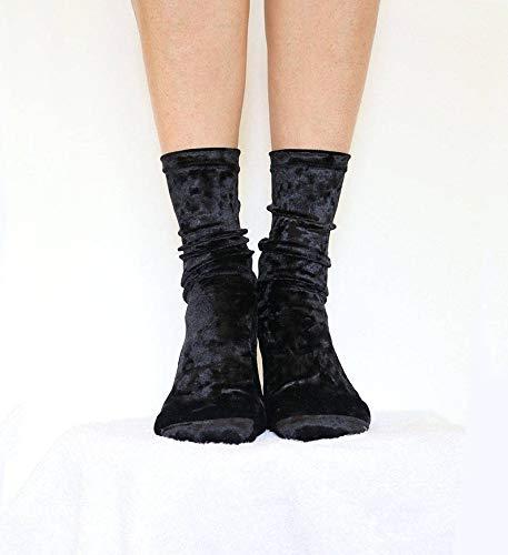 Black Velour Handmade Womens Socks Velvet Socks Homemade Socks