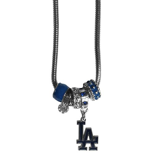 ers Women's Euro Bead Necklace, Blue (Los Angeles Dodgers Rhinestone)